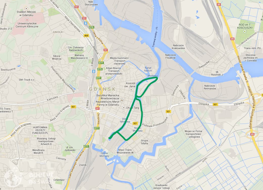 Kajakiem po Gdańsku - mapa