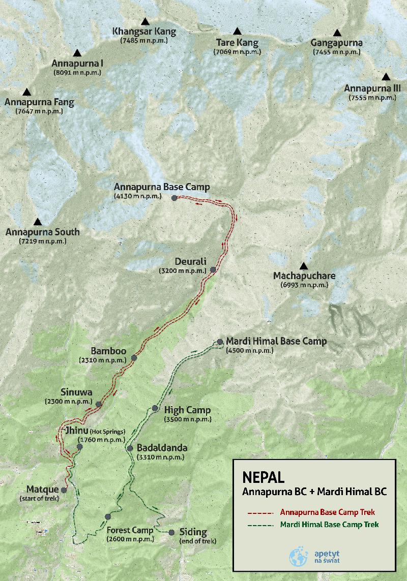 Wyprawa doNepalu, wędrówki wHimalajach, mapa, trekking Annapurna Base Camp, ABC, Mardi Himal BC