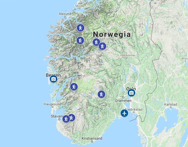 Dach Skandynawii - mapa - najpiękniejsze miejsca wNorwegii