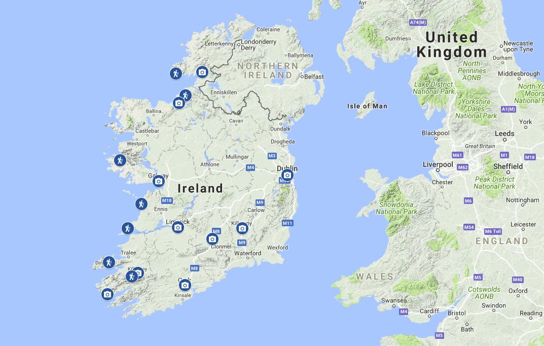 Irlandia - mapa atrakcji