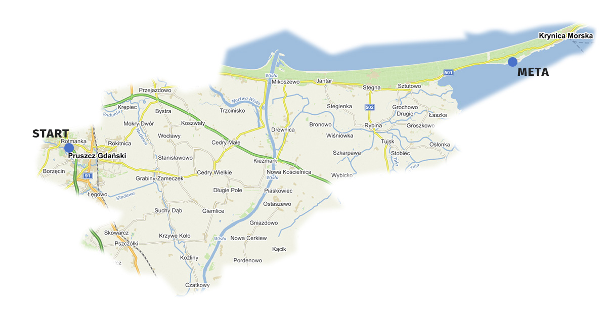 Mapa lokalizacyjna Samochodowego Rajdu Krajoznawczego poŻuławach Wiślanych