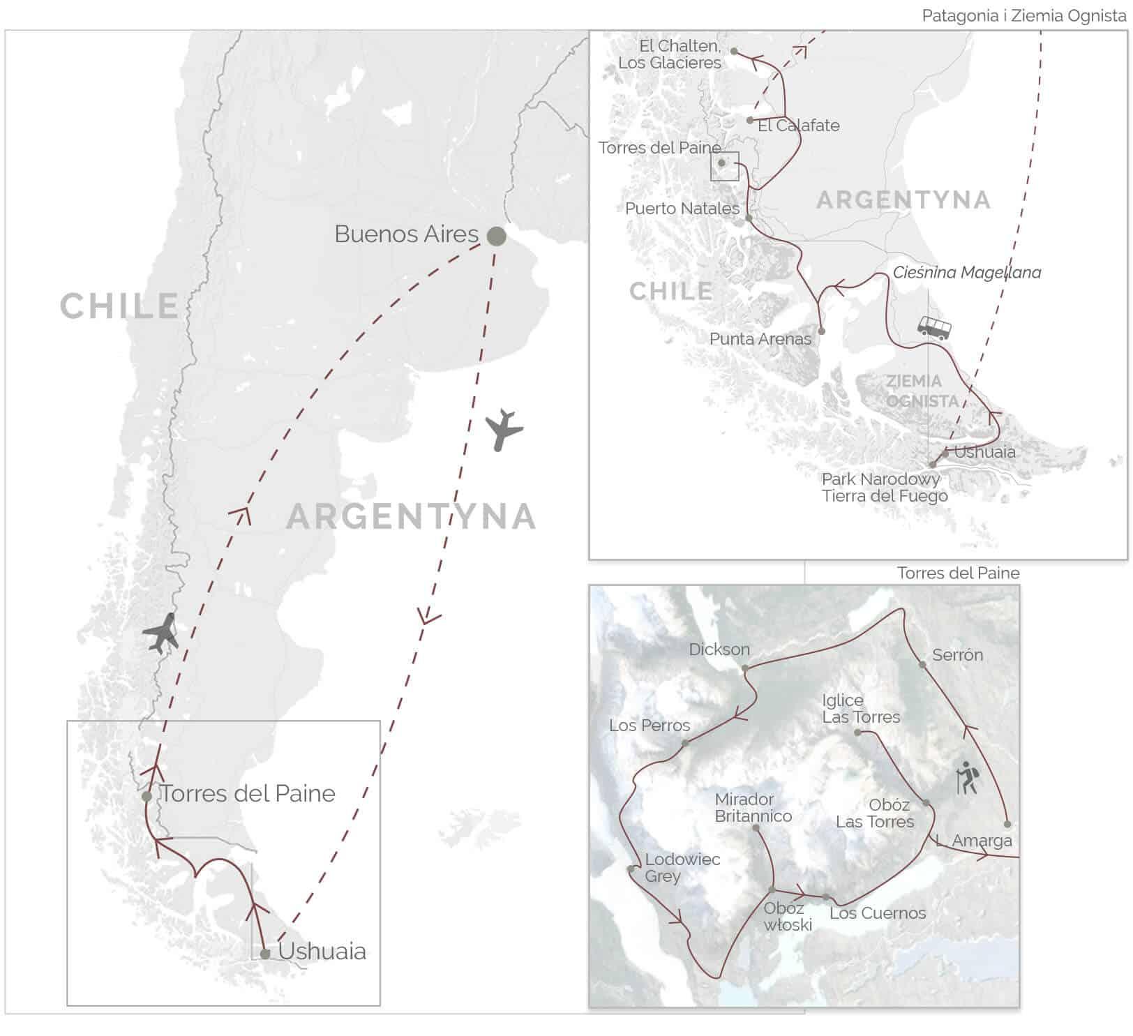 Patagonia 2019 - mapa wyprawy