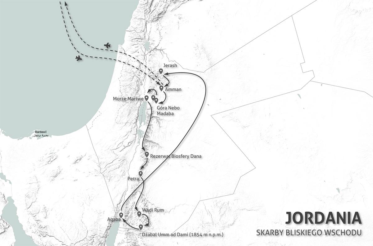 Jordania - Skarby Bliskiego Wschodu - mapa wyprawy 8 dni