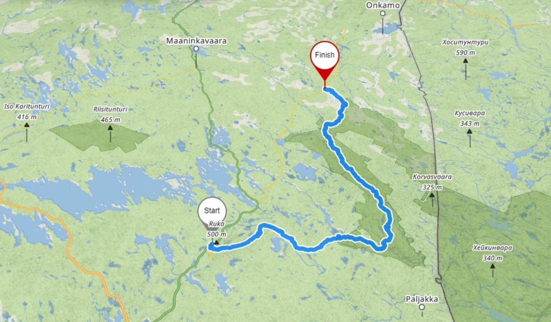 Mapa szlaku Karhunkierros, Park Narodowy Oulanka