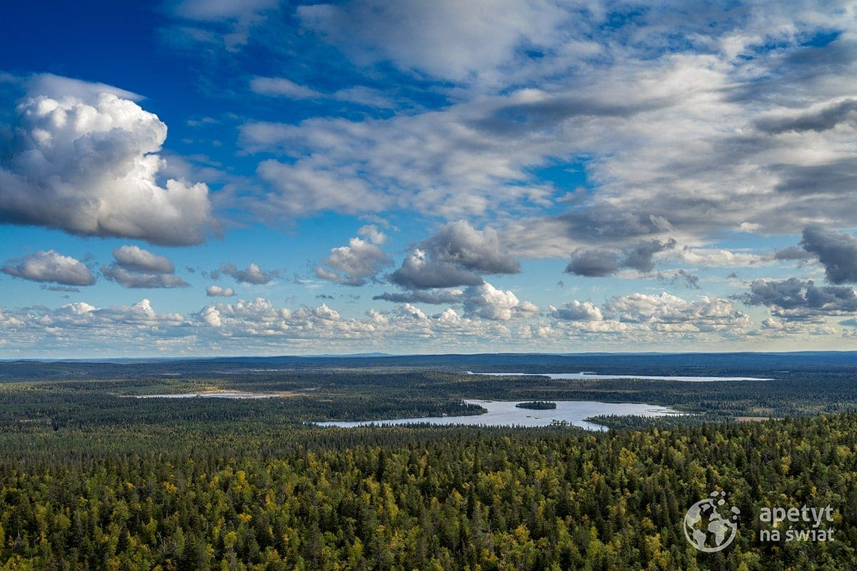 Szlak Karhunkierros, fińska Laponia, tajga, jeziora