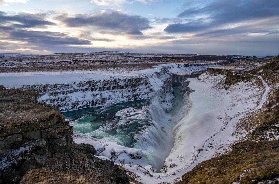 Islandia Złoty Krąg, wodospad Gullfoss, zima