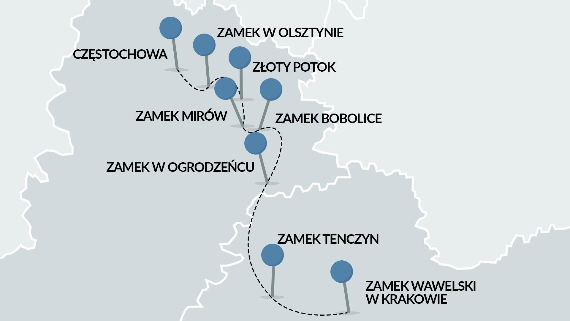 Jura Krakowsko-Częstochowska narowerze - mapa zzaznaczoną trasą