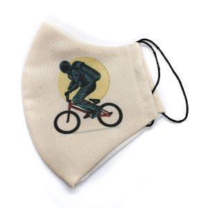 Maseczka ochronna rower rowerzysta kosmonauta kolor bezowy