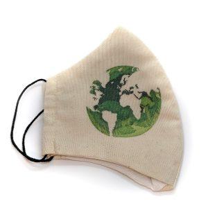 Maseczka ochronna zielony globus - kolor beżowy