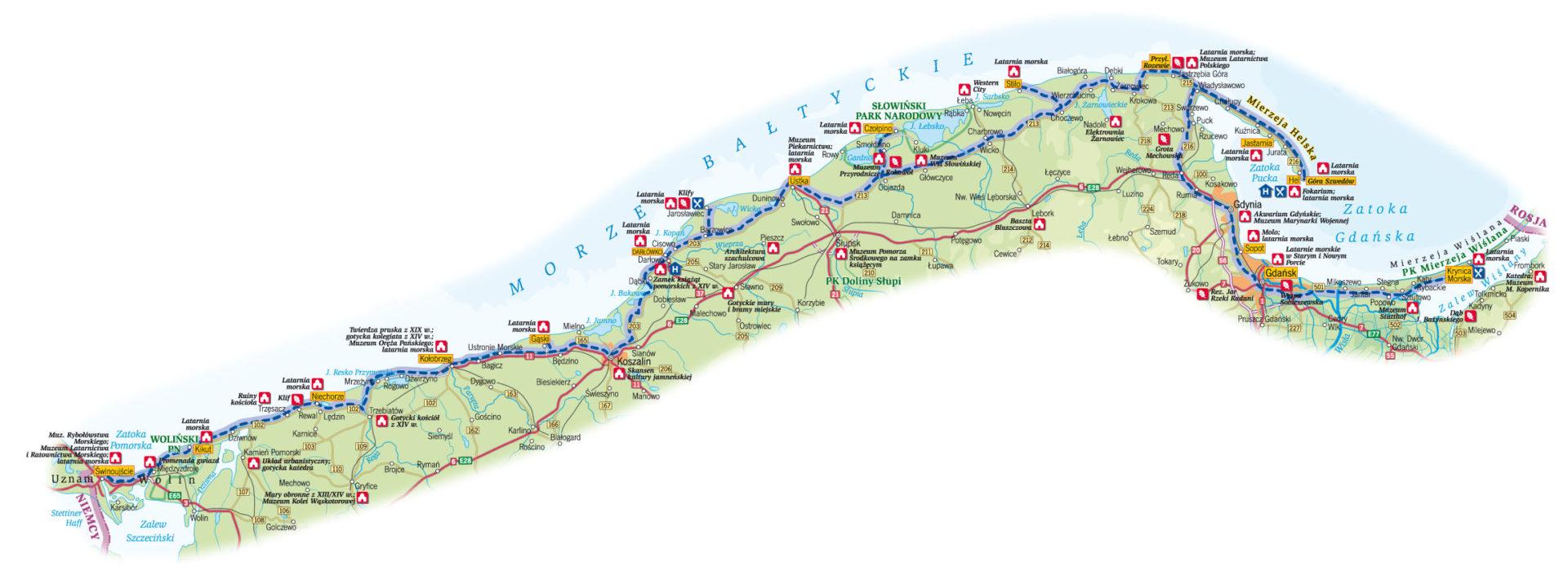 Rowerowy szlak latarń morskich - polskie wybrzeże - mapka