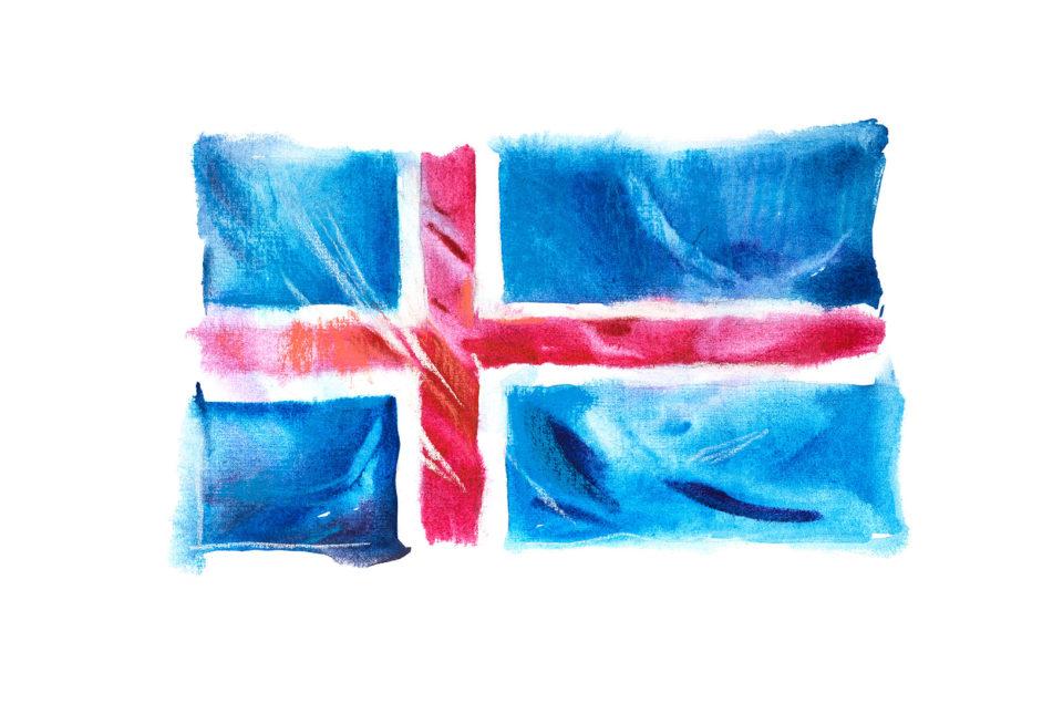 pastelowa flaga Islandii
