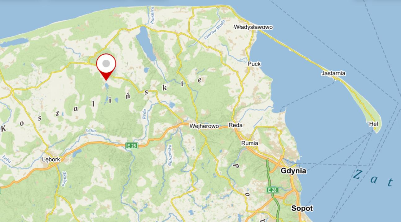 Mapa - lokalizacja. Biwak bushcraftowy wSalinku
