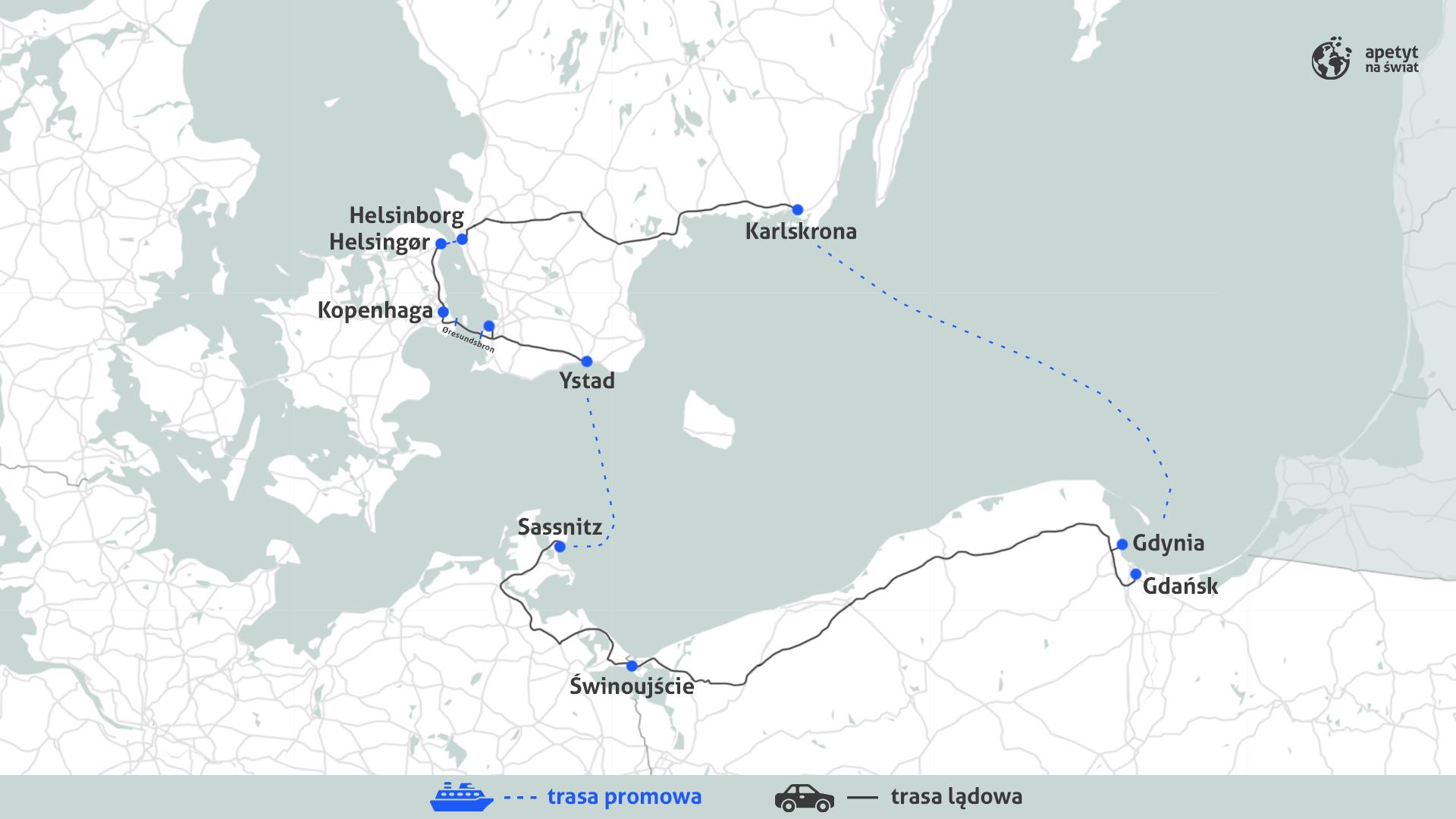 Samochodowa wycieczka przezSzwecję, Danię iNiemcy - mapka trasy