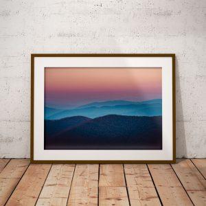 Plakat podróżniczy - Bieszczady - zachód słońca, Połonina Caryńska, jesień w Bieszczadach