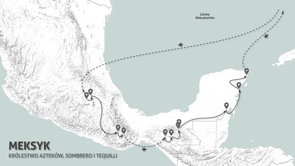Meksyk - mapa wyprawy