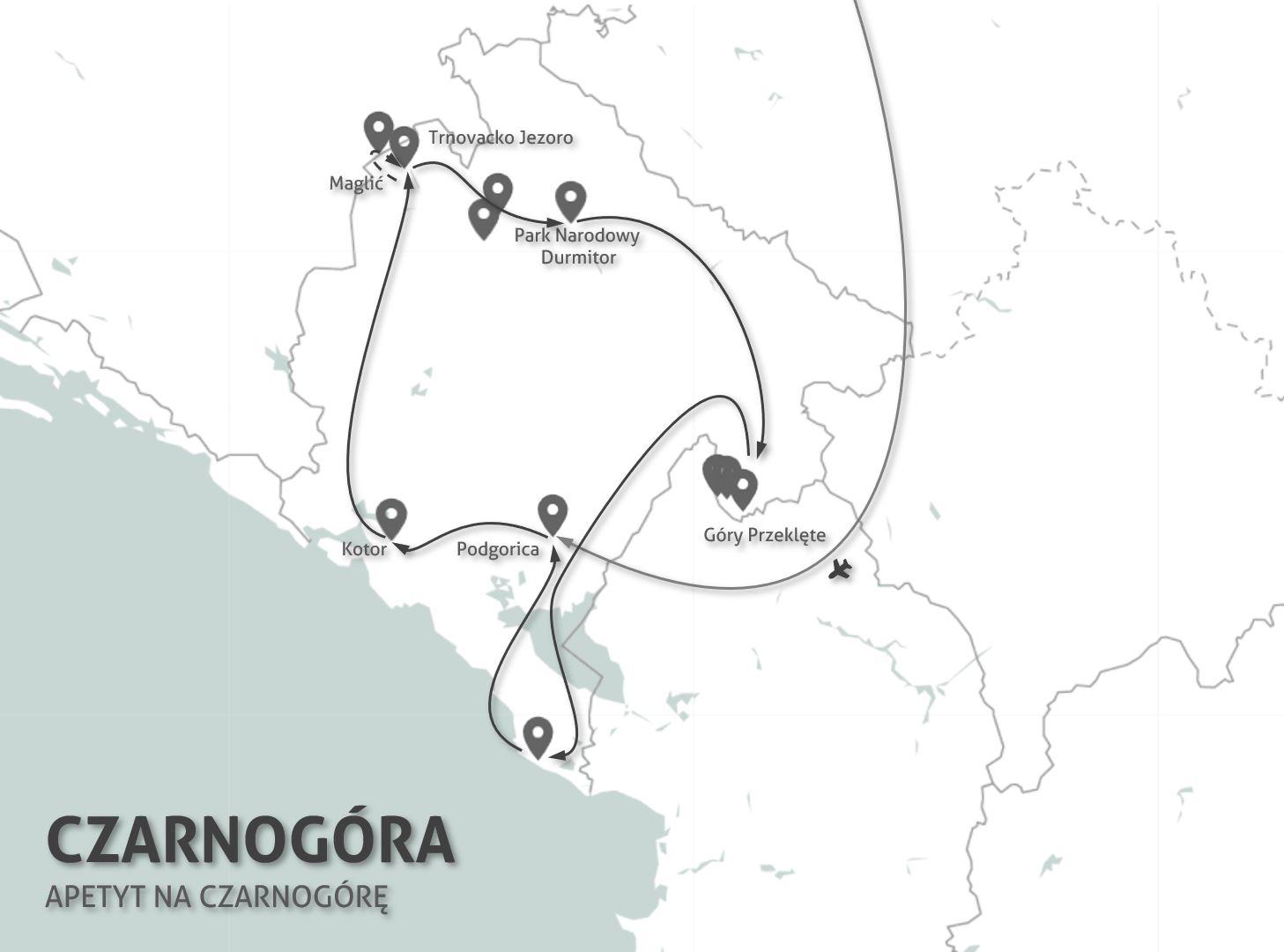 Mapa wyprawy doCzarnogóry