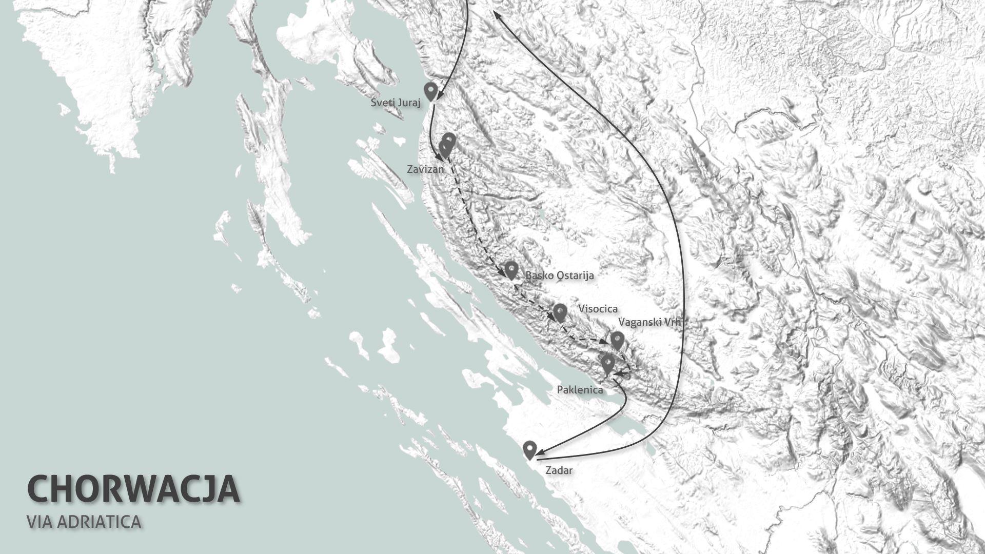 Via Adriatica - mapa wyprawy