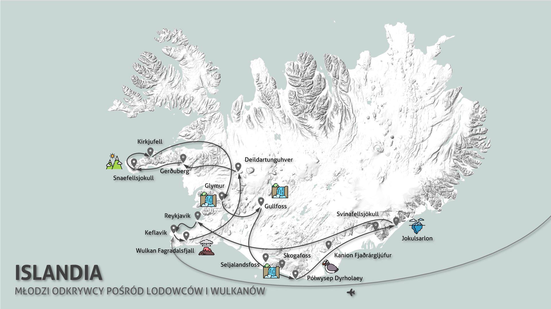 Młodzi Odkrywcy - rodzinna Islandia - mapka