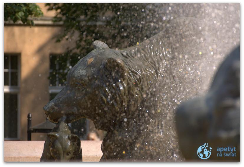 """Fontanna """"Potop"""" wBydgoszczy - figura niedźwiedzia"""